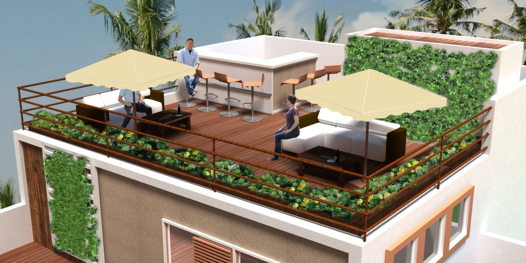render roof with people