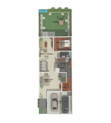 2D floor plan 1st floor townhouse