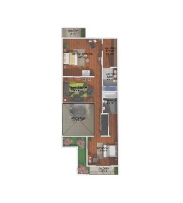 2D floor plan 2nd floor townhouse
