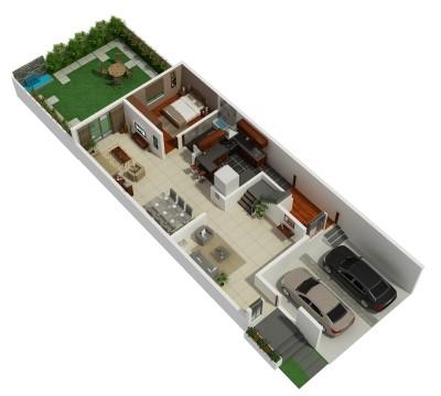 3D floor plan 1st floor townhouse