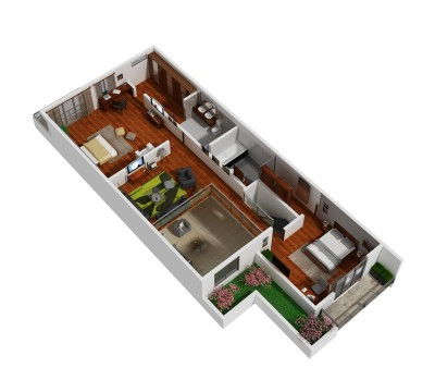 3D floor plan 2nd townhouse